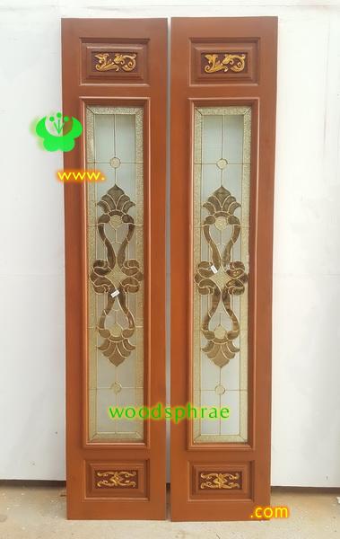 ประตูไม้สักบานเฟี้ยม